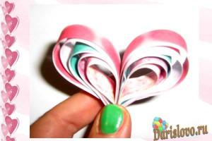 объемное сердечко из бумажных полос